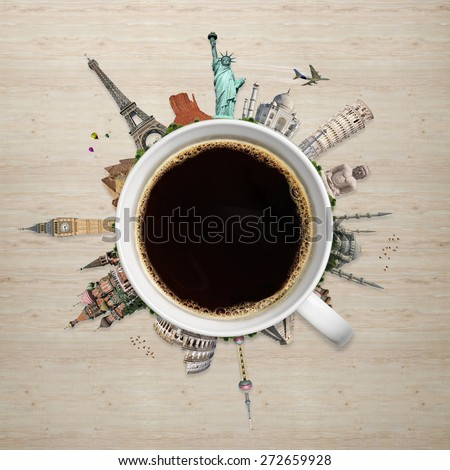 Famous monuments of the world surrounding a cup of coffee - stock photo