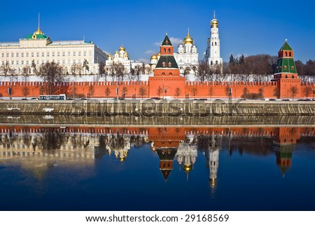 Famous Moscow Kremlin and beautiful reflection in Moskva river, Russia - stock photo