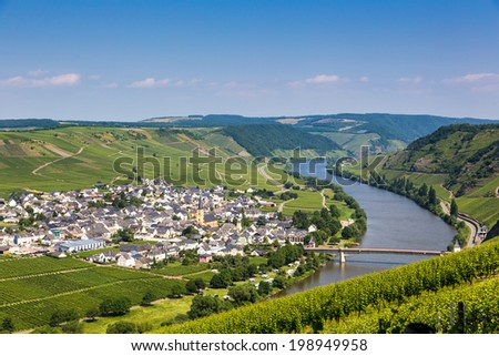 Famous Moselle Sinuosity in Trittenheim, Germany - stock photo
