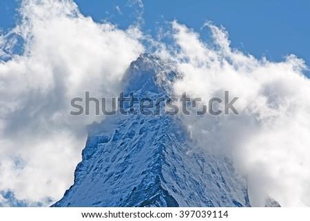 Famous mountain Matterhorn (peak Cervino) on the swiss-italian border - stock photo