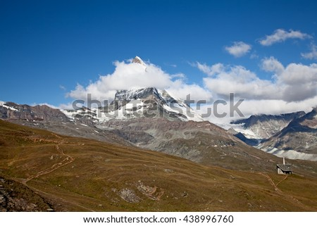 Famous mountain Matterhorn (peak Cervino) on the swiss-italian border