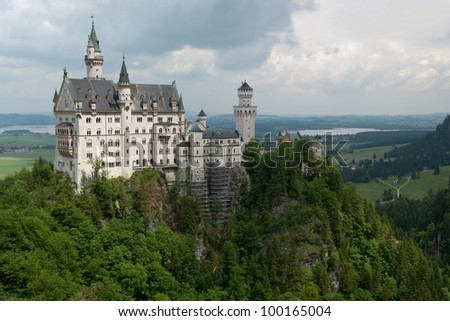 Famous Neuschwanstein Castle, Bavaria, Germany - stock photo