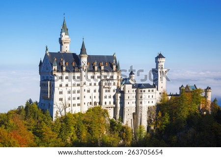 Famous Neuschwanstein castle in Bavaria, Germany - stock photo