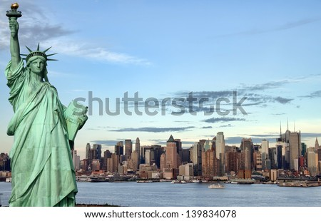 famous new york city, evening cityscape, tourism concept - stock photo