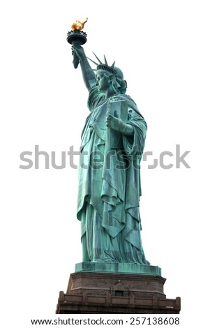 Famous NY Statue of Liberty isolated on white, USA - stock photo