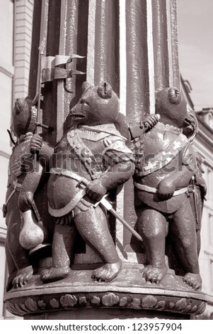 Famous Ogre Fountain by Gieng 16th Century; Bern; Switzerland; Europe in Black and White Sepia Tone