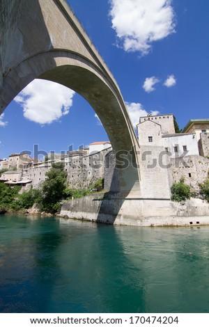 Famous Old Bridge in Mostar, Bosnia and Herzegovina - stock photo