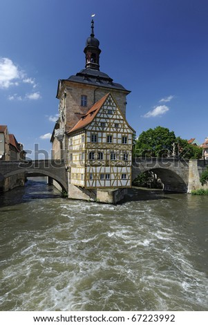 famous old city hall of Bamberg in Germany inside river Regnitz