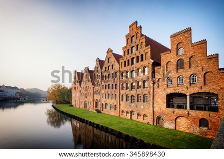 famous old town in luebeck - germany - stock photo
