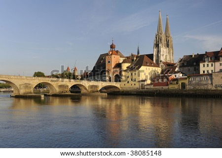 famous old town of Regensburg in Germany