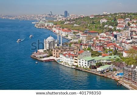 "Famous ""Ortakoy mosque"" near Bosphorus bridge in Istanbul - stock photo"
