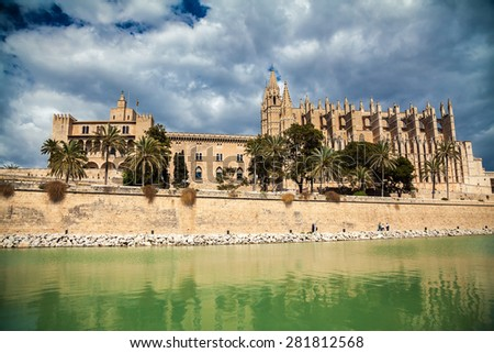 famous Palma Cathedral in Palma de Mallorca, Spain  - stock photo