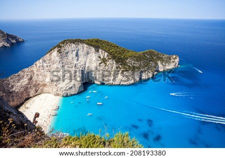 Famous paradise beach Navagio with shipwreck - stock photo