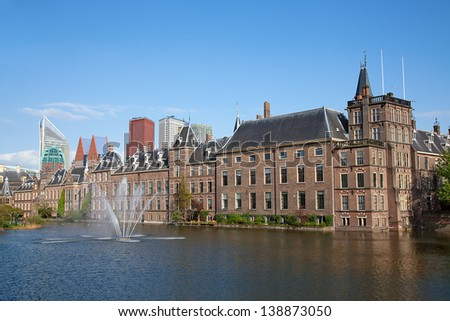 Famous parliament and court building complex Binnenhof in Hague - stock photo