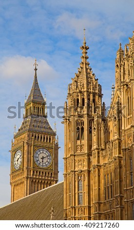 Famous  Parliament building in London, UK. - stock photo