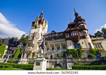 Famous Peles castle in Romania - stock photo