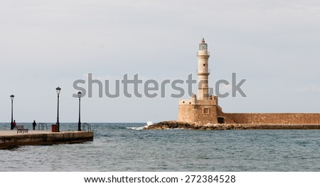 Famous picturesque  lighthouse at the port of the City of Chania in Crete Island of Crete - stock photo