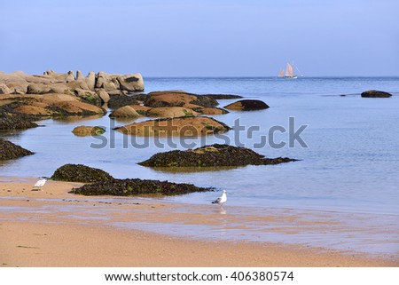 Famous Pink Granite Coast (cote de granite rose in french) and beach of peninsula Renote at Tregastel, commune in the Cotes of Armor department of the region of Brittany in northwestern France - stock photo