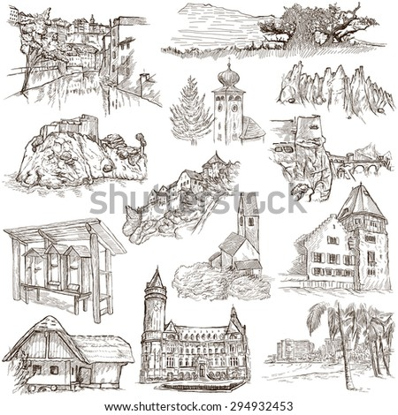Famous Places and ARCHITECTURE around the World - Collection of an hand drawn illustrations (pack no.18). Description: Full sized hand drawn illustrations drawing on white.