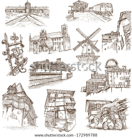 Famous places, buildings and architecture around the World (set no.6, white) - Collection of an hand drawn illustrations. Description: Full sized hand drawn illustrations drawing on white background. - stock photo
