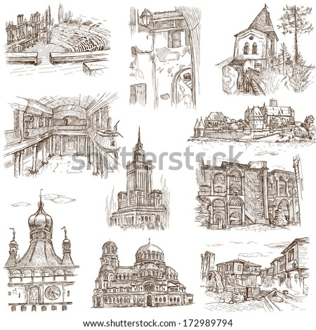 Famous places, buildings and architecture around the World (set no.7, white) - Collection of an hand drawn illustrations. Description: Full sized hand drawn illustrations drawing on white background. - stock photo