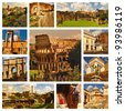Famous places in Rome, Italy. Collage. Around the Colloseum and Roman Forum. - stock photo