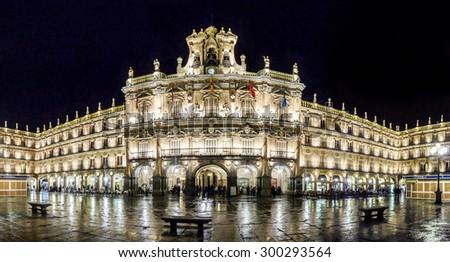 Famous Plaza Mayor in Salamanca at night, Castilla y Leon, Spain - stock photo