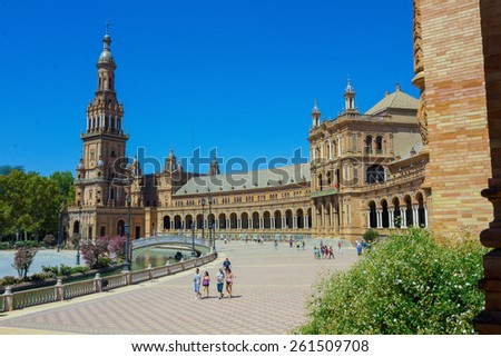 Famous Plaza of Spain in Seville, Spain - stock photo
