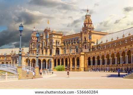 Famous Plaza of Spain in Seville, Spain