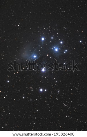 Famous Pleiades nebula in zodiac constellation of Bull.