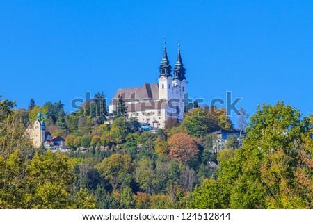 Famous Poestlingberg Basilica, Linz, Austria - stock photo