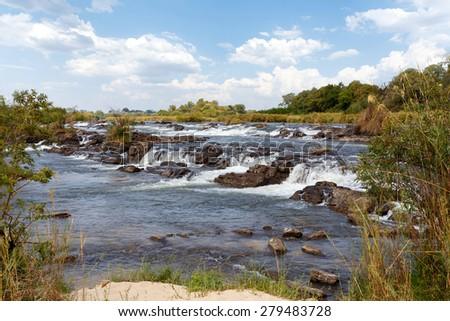 Famous Popa falls in Caprivi, North Namibia, landscape - stock photo