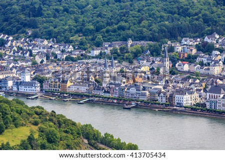 famous popular Wine Village of Boppard at Rhine River,middle Rhine Valley,Germany - stock photo