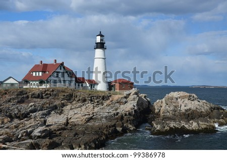 Famous portland head light off the coast of maine - stock photo