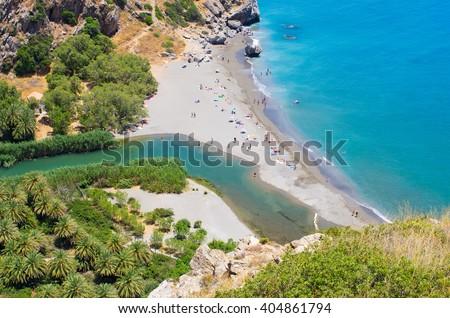 Famous Preveli palm beach on Crete island, Greece - stock photo