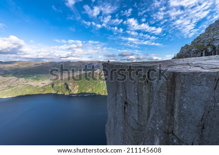 Famous Pulpit Rock in Spring in Norway - stock photo