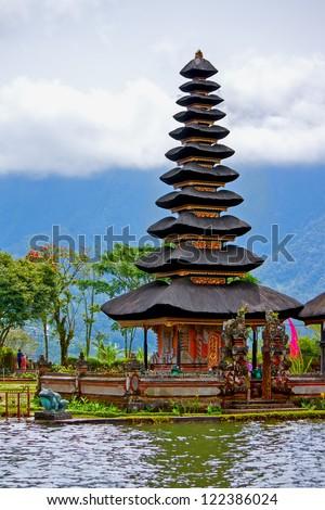 Famous Pura Ulun Danu Temple on the Lake Bratan, Bedugul, Bali - stock photo