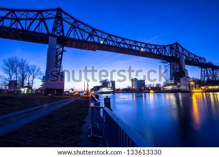 Famous railway bridge over Kiel canal in Rendsburg, Germany - stock photo