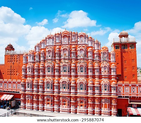 Famous Rajasthan landmark - Hawa Mahal palace (Palace of the Winds), Jaipur, Rajasthan  - stock photo