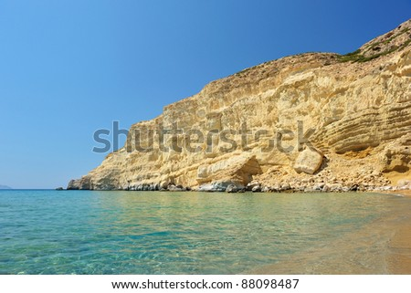 Famous Red Beach in Matala, Crete, Greece - stock photo