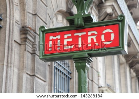 Famous red metro station sign in Paris