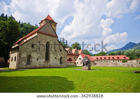 """Famous Red Monastery """"Cerveny Klastor"""", Slovakia - stock photo"""