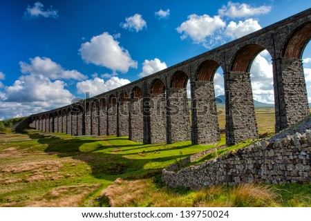 Famous Ribblehead Viaduct in Yorkshire Dales National Park