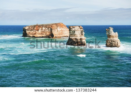 famous Rocks in the Bay of Islands Coastal Park,Great Ocean Road, Australia - stock photo