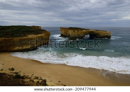 Famous rocks London Bridge, Great Ocean Road, Australia - stock photo