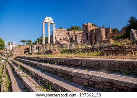 Famous Roman ruins in Rome, Capital city of Italy - stock photo