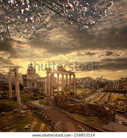 Famous Roman ruins with blossomed tree in Rome, Capital city of Italy - stock photo