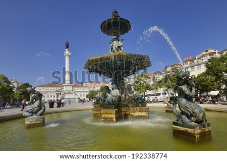 Famous Rossio square in Lisbon - capital of Portugal
