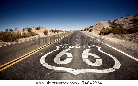 Famous Route 66 landmark on the road in Californian desert - stock photo