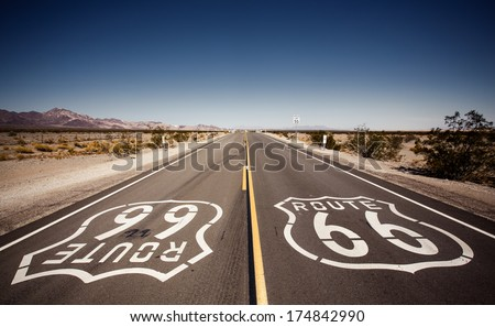 Famous Route 66 landmark on the road in Californian desert - stock photo